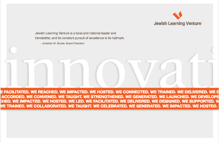 """An image with the word """"innovations"""" written across the center in blue letters and the """"I"""" in innovations is an arrow. There are three orange columns on the side which say: building relationships, thought leadership, empowerment."""