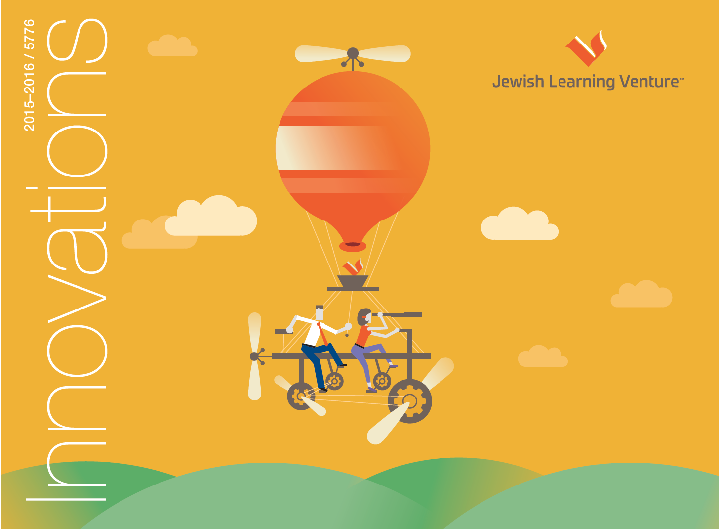"""2. An image with the word """"innovation"""" written across the side. The image is a cartoon orange hot air balloon with an orange background and the air balloon is being powered by two people riding a bike, one looking forward and the other looking behind them. 3. An image with the word """"innovations"""" written across the center in blue letters and the """"I"""""""